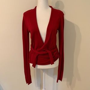 Cabi Red Wrap Sweater, #742, medium